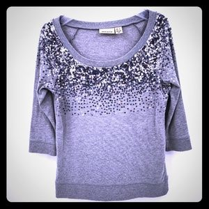 DKNY Jeans Women's Small Gray Sequin Blouse